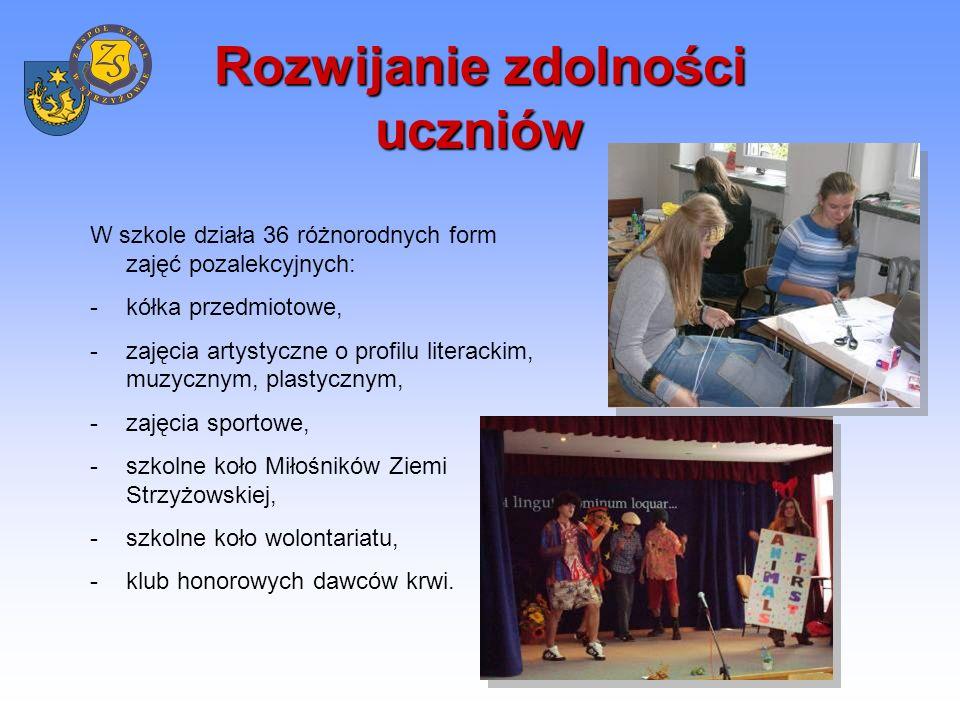 Realizacja programów edukacyjnych i profilaktycznych W szkole realizowane są programy wspierające proces dydaktyczny i wychowawczy: -Zero tolerancji dla przemocy w szkole, -Program pracy z uczniem zdolnym, -Program wspomagania uczniów w wyrównywaniu szans edukacyjnych, -Bezpieczna szkoła, -Szkoła bez przemocy, -Wakacje na basenie, -Kreuję siebie i otoczenie poprzez kontakt ze sztuką, -Liczne programy dotyczące profilaktyki uzależnień.