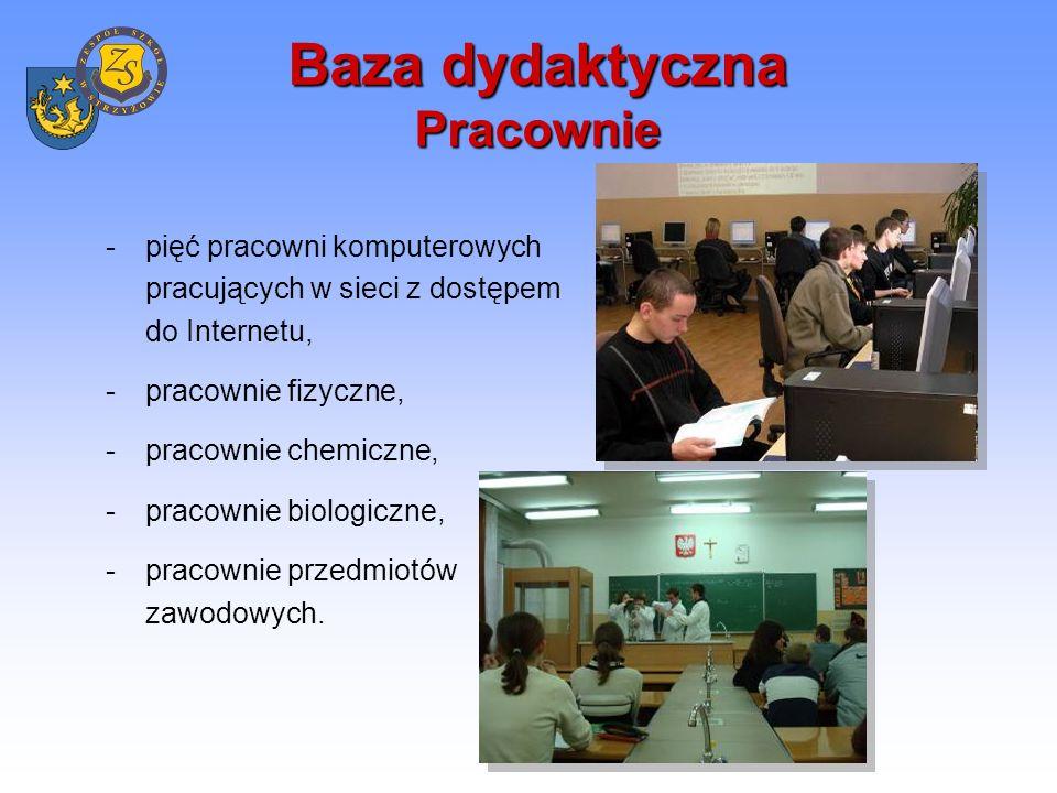 Baza dydaktyczna Biblioteka z Multimedialnym Centrum Informacji Rolę centrum czytelniczo - informacyjnego pełni biblioteka szkolna.