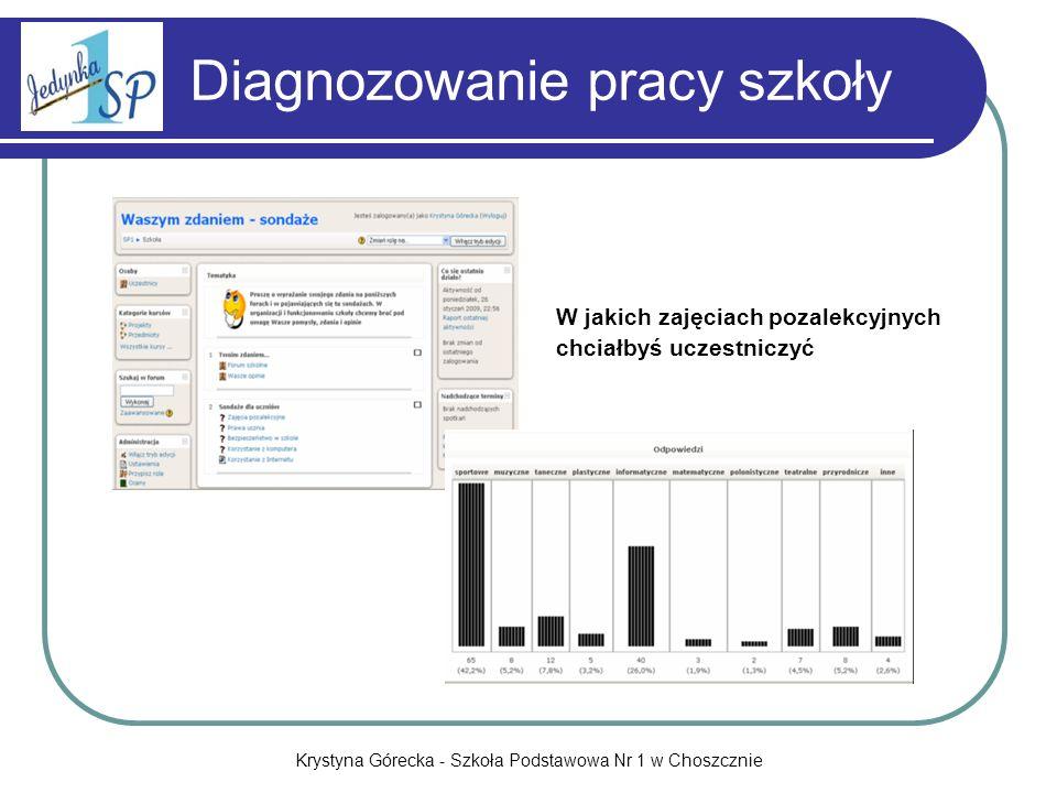 Krystyna Górecka - Szkoła Podstawowa Nr 1 w Choszcznie Diagnozowanie pracy szkoły W jakich zajęciach pozalekcyjnych chciałbyś uczestniczyć