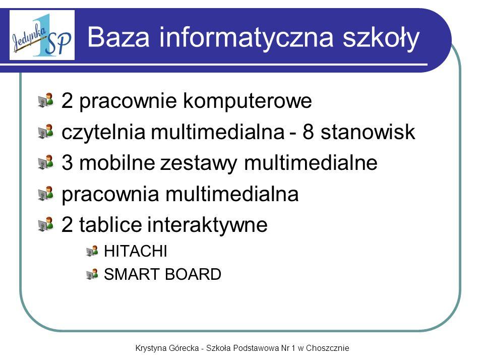 Krystyna Górecka - Szkoła Podstawowa Nr 1 w Choszcznie Baza informatyczna szkoły 2 pracownie komputerowe czytelnia multimedialna - 8 stanowisk 3 mobil