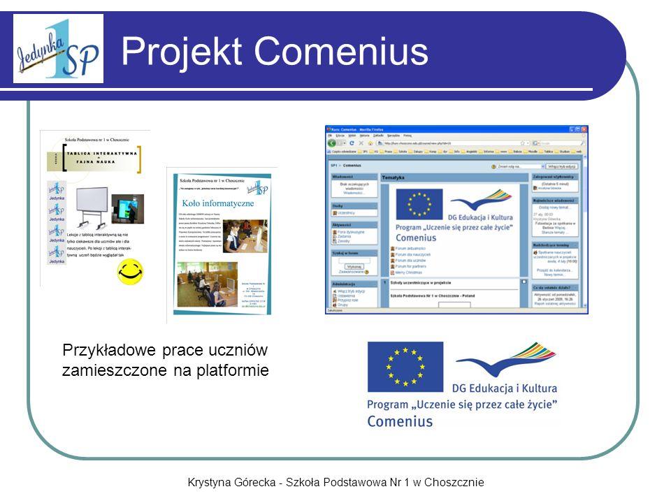 Krystyna Górecka - Szkoła Podstawowa Nr 1 w Choszcznie Projekt Comenius Przykładowe prace uczniów zamieszczone na platformie