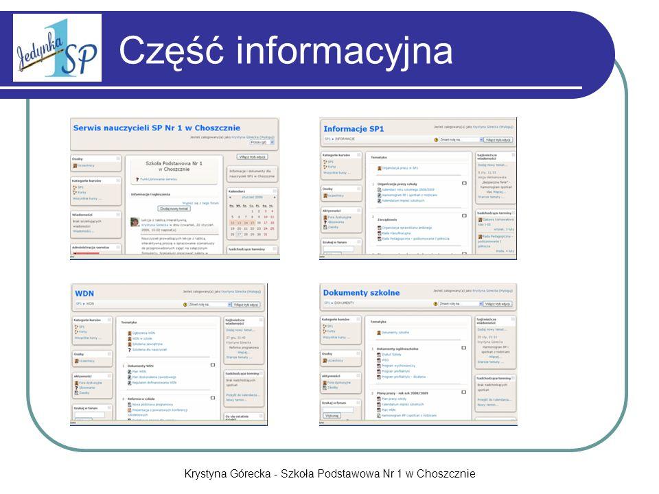 Krystyna Górecka - Szkoła Podstawowa Nr 1 w Choszcznie Część informacyjna