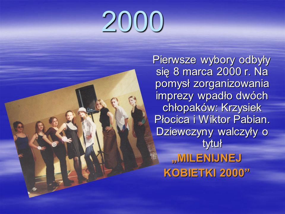 2000 Pierwsze wybory odbyły się 8 marca 2000 r. Na pomysł zorganizowania imprezy wpadło dwóch chłopaków: Krzysiek Płocica i Wiktor Pabian. Dziewczyny