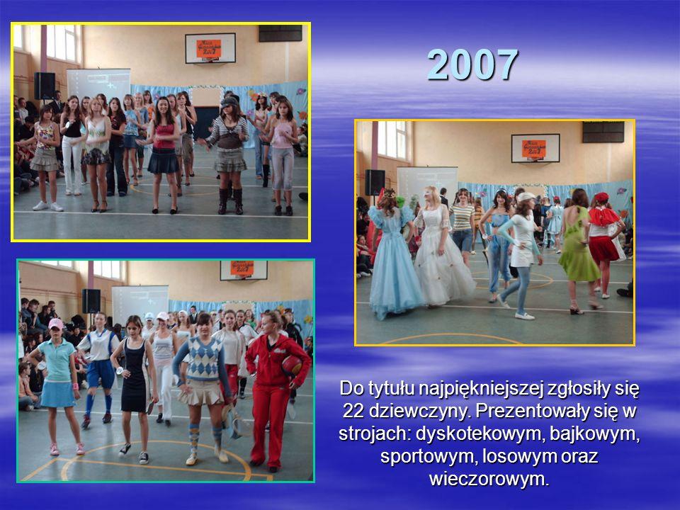 2007 2007 Do tytułu najpiękniejszej zgłosiły się 22 dziewczyny. Prezentowały się w strojach: dyskotekowym, bajkowym, sportowym, losowym oraz wieczorow