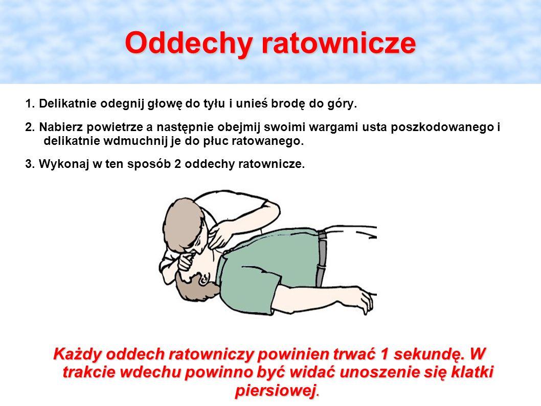 Oddechy ratownicze 1. Delikatnie odegnij głowę do tyłu i unieś brodę do góry. 2. Nabierz powietrze a następnie obejmij swoimi wargami usta poszkodowan