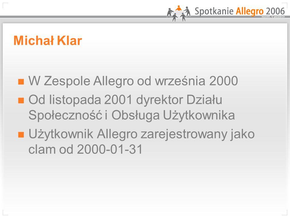 Michał Klar W Zespole Allegro od września 2000 Od listopada 2001 dyrektor Działu Społeczność i Obsługa Użytkownika Użytkownik Allegro zarejestrowany jako clam od 2000-01-31