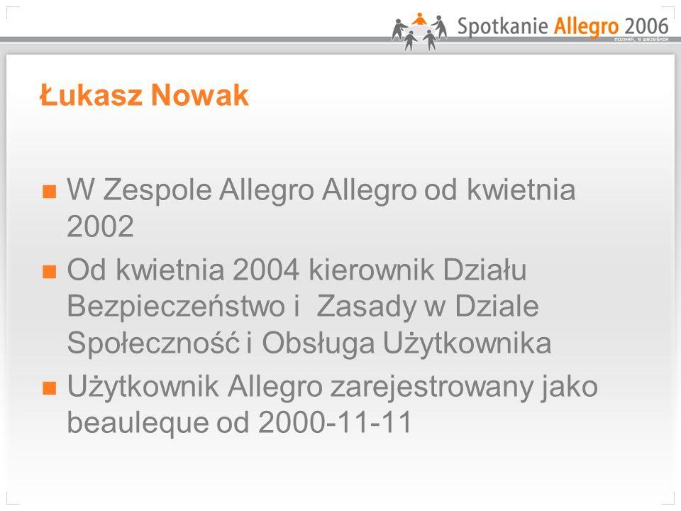 Łukasz Nowak W Zespole Allegro Allegro od kwietnia 2002 Od kwietnia 2004 kierownik Działu Bezpieczeństwo i Zasady w Dziale Społeczność i Obsługa Użytk