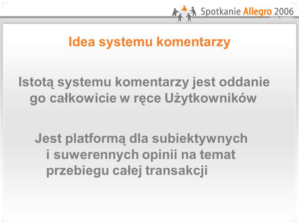 Idea systemu komentarzy Istotą systemu komentarzy jest oddanie go całkowicie w ręce Użytkowników Jest platformą dla subiektywnych i suwerennych opinii na temat przebiegu całej transakcji