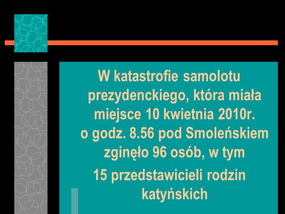 W katastrofie samolotu prezydenckiego, która miała miejsce 10 kwietnia 2010r. o godz. 8.56 pod Smoleńskiem zginęło 96 osób, w tym 15 przedstawicieli r