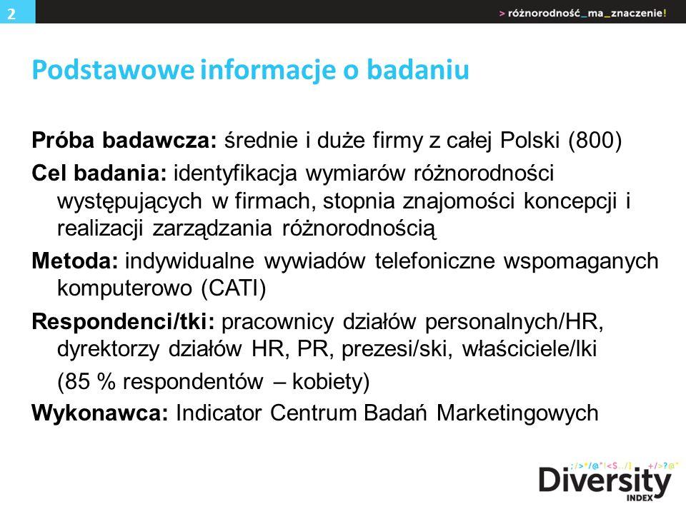 Podstawowe informacje o badaniu Próba badawcza: średnie i duże firmy z całej Polski (800) Cel badania: identyfikacja wymiarów różnorodności występujących w firmach, stopnia znajomości koncepcji i realizacji zarządzania różnorodnością Metoda: indywidualne wywiadów telefoniczne wspomaganych komputerowo (CATI) Respondenci/tki: pracownicy działów personalnych/HR, dyrektorzy działów HR, PR, prezesi/ski, właściciele/lki (85 % respondentów – kobiety) Wykonawca: Indicator Centrum Badań Marketingowych 2