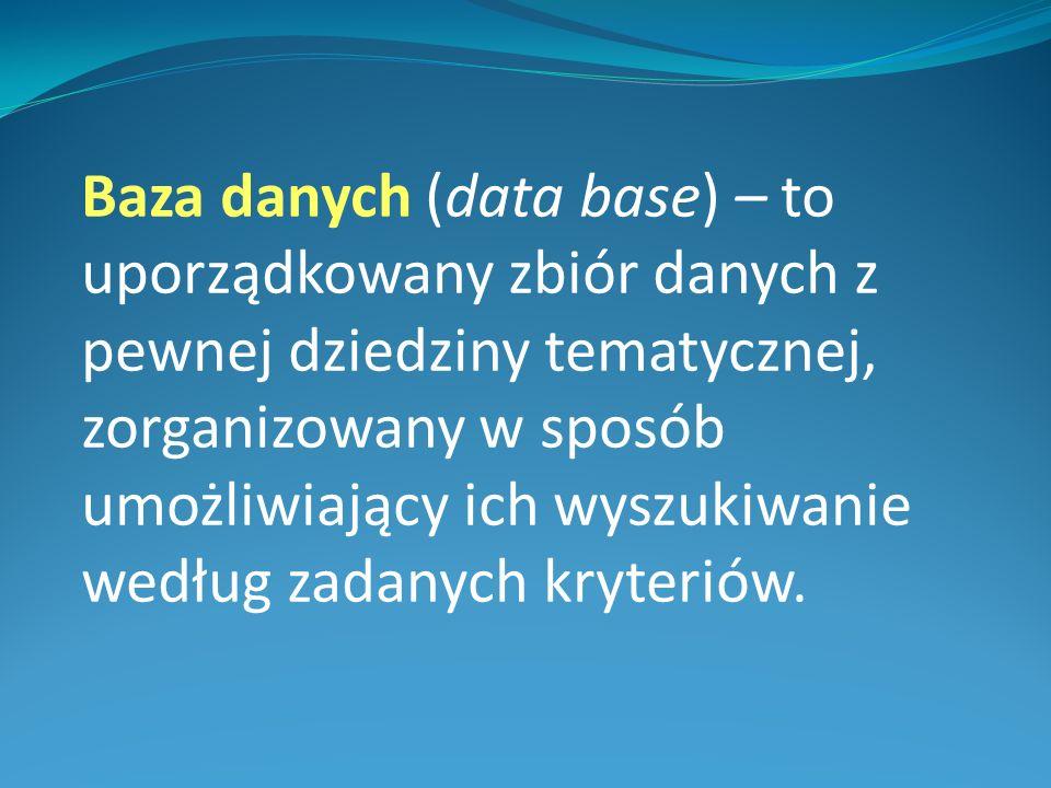 Przykłady baz danych: Bazą danych może być zbiór danych o uczniach i ocenach przechowywany w dzienniku lekcyjnym.
