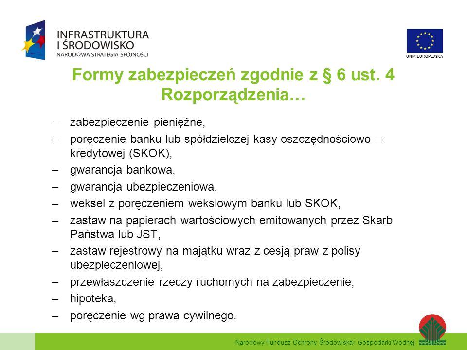Narodowy Fundusz Ochrony Środowiska i Gospodarki Wodnej UNIA EUROPEJSKA Formy zabezpieczeń zgodnie z § 6 ust.