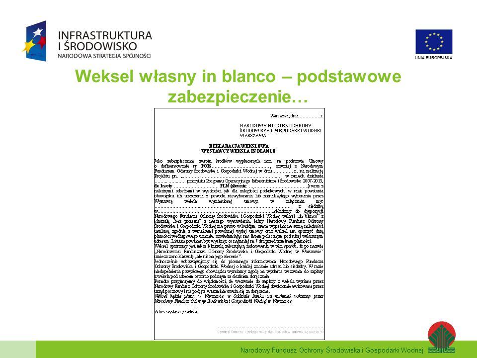 Narodowy Fundusz Ochrony Środowiska i Gospodarki Wodnej UNIA EUROPEJSKA Weksel własny in blanco – podstawowe zabezpieczenie…