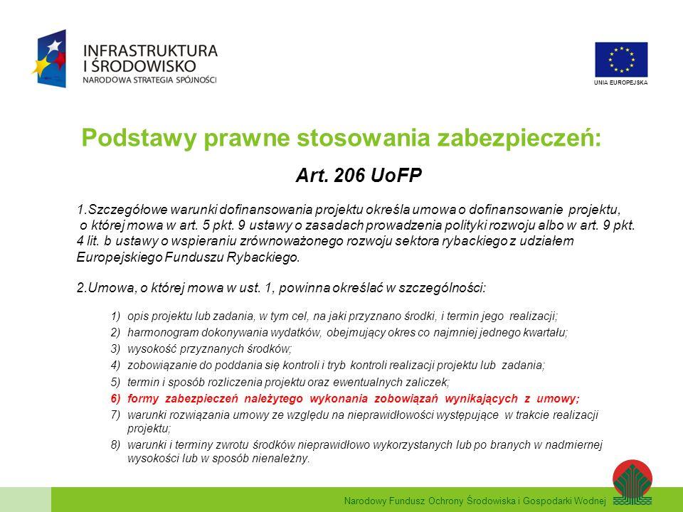 Narodowy Fundusz Ochrony Środowiska i Gospodarki Wodnej UNIA EUROPEJSKA Podstawy prawne stosowania zabezpieczeń: Art.