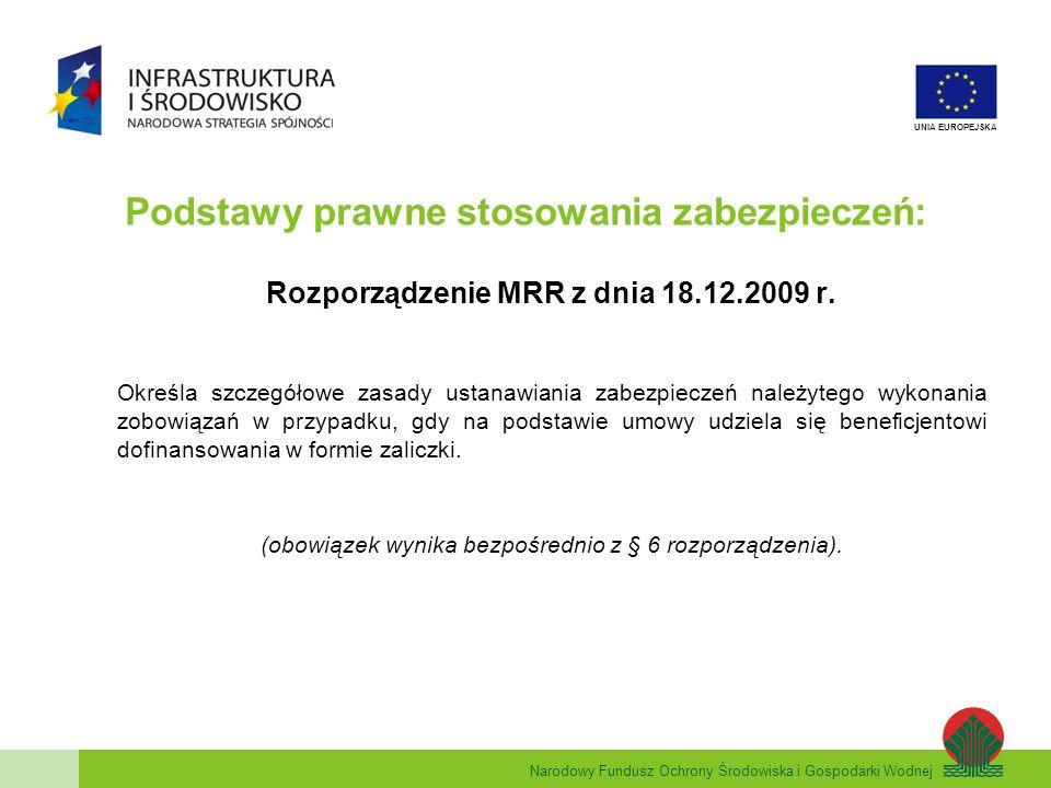 Narodowy Fundusz Ochrony Środowiska i Gospodarki Wodnej UNIA EUROPEJSKA Podstawy prawne stosowania zabezpieczeń: Rozporządzenie MRR z dnia 18.12.2009 r.