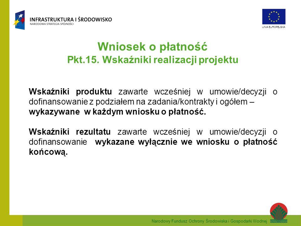 Narodowy Fundusz Ochrony Środowiska i Gospodarki Wodnej UNIA EUROPEJSKA Wniosek o płatność Pkt.15. Wskaźniki realizacji projektu Wskaźniki produktu za