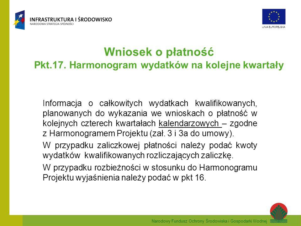 Narodowy Fundusz Ochrony Środowiska i Gospodarki Wodnej UNIA EUROPEJSKA Wniosek o płatność Pkt.17. Harmonogram wydatków na kolejne kwartały Informacja