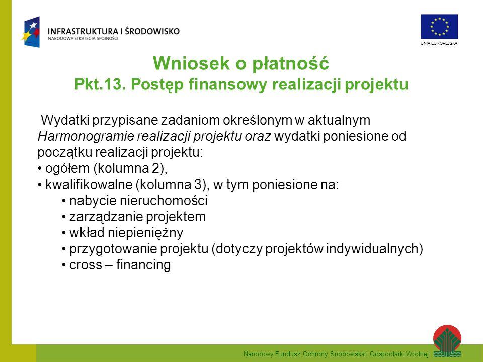Narodowy Fundusz Ochrony Środowiska i Gospodarki Wodnej UNIA EUROPEJSKA Wniosek o płatność Pkt.13. Postęp finansowy realizacji projektu Wydatki przypi
