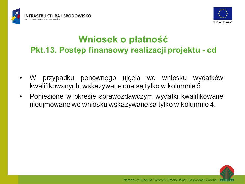 Narodowy Fundusz Ochrony Środowiska i Gospodarki Wodnej UNIA EUROPEJSKA Wniosek o płatność Pkt.13. Postęp finansowy realizacji projektu - cd W przypad