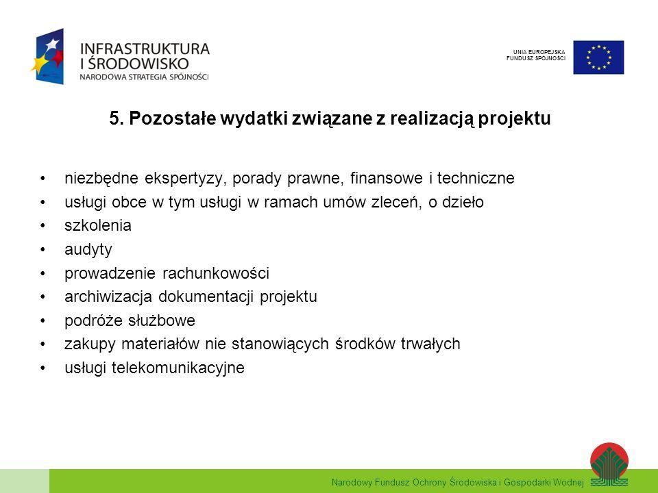 Narodowy Fundusz Ochrony Środowiska i Gospodarki Wodnej UNIA EUROPEJSKA FUNDUSZ SPÓJNOŚCI 5.