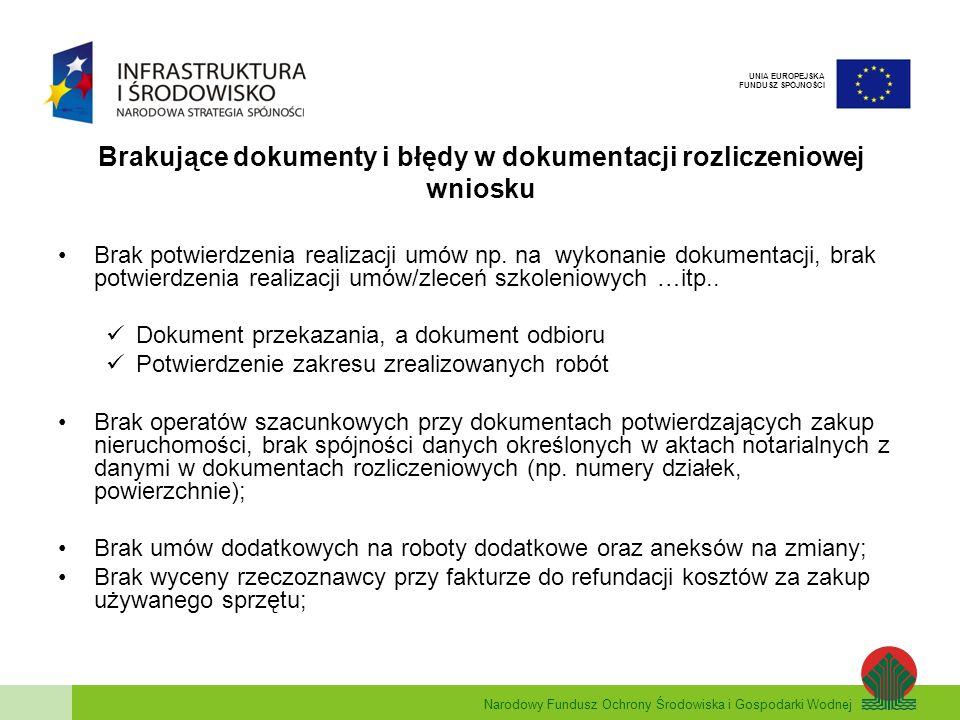 Narodowy Fundusz Ochrony Środowiska i Gospodarki Wodnej UNIA EUROPEJSKA FUNDUSZ SPÓJNOŚCI Brakujące dokumenty i błędy w dokumentacji rozliczeniowej wniosku Brak potwierdzenia realizacji umów np.