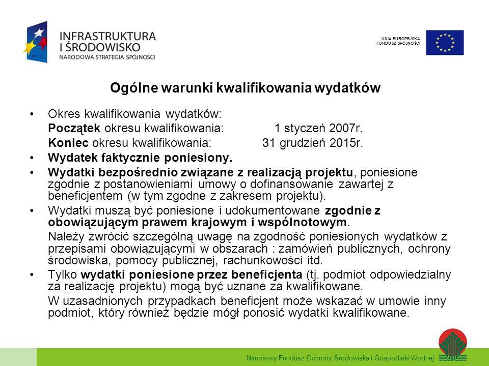 Narodowy Fundusz Ochrony Środowiska i Gospodarki Wodnej UNIA EUROPEJSKA FUNDUSZ SPÓJNOŚCI Ogólne warunki kwalifikowania wydatków Zakaz podwójnego finansowania Niedopuszczalne jest dwukrotne zrefundowanie całości lub części danego wydatku ze środków publicznych (tj.