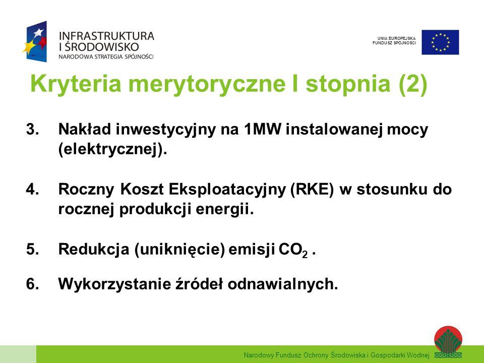 Narodowy Fundusz Ochrony Środowiska i Gospodarki Wodnej UNIA EUROPEJSKA FUNDUSZ SPÓJNOŚCI Kryteria merytoryczne I stopnia (2) 3.Nakład inwestycyjny na 1MW instalowanej mocy (elektrycznej).