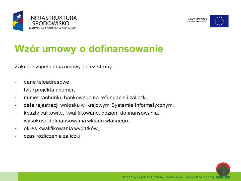 Narodowy Fundusz Ochrony Środowiska i Gospodarki Wodnej UNIA EUROPEJSKA FUNDUSZ SPÓJNOŚCI Wzór umowy o dofinansowanie Zakres uzupełnienia umowy przez