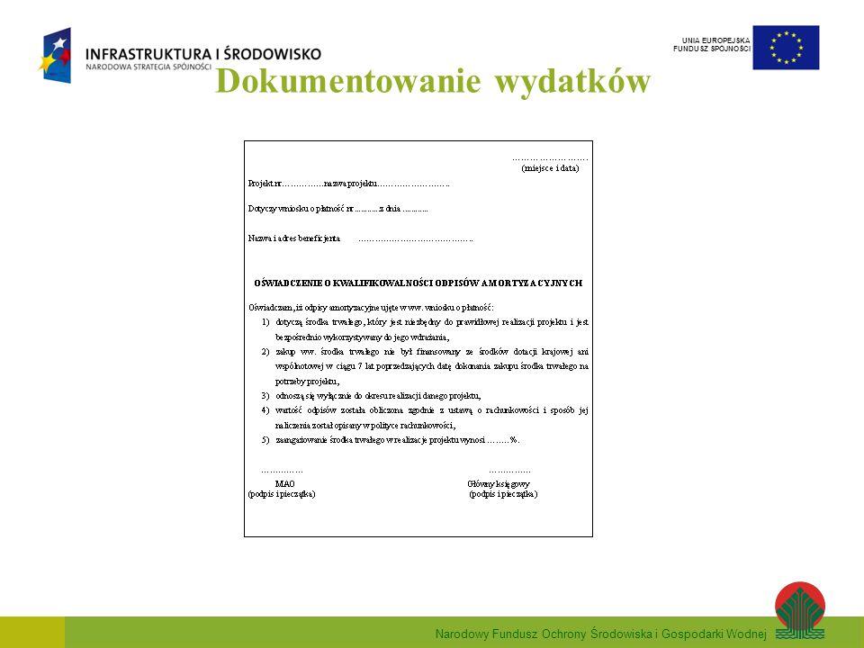 Narodowy Fundusz Ochrony Środowiska i Gospodarki Wodnej UNIA EUROPEJSKA FUNDUSZ SPÓJNOŚCI Dokumentowanie wydatków
