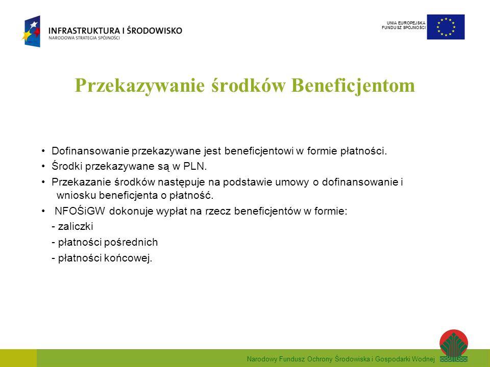 Narodowy Fundusz Ochrony Środowiska i Gospodarki Wodnej UNIA EUROPEJSKA FUNDUSZ SPÓJNOŚCI Przekazywanie środków Beneficjentom Środki przekazywane są na rachunek wskazany w umowie o dofinansowanie: -dotychczasowy rachunek beneficjenta – refundacja wydatków, -w przypadku przekazania środków w formie zaliczki beneficjent zobowiązany jest otworzyć dodatkowy, oprocentowany rachunek.