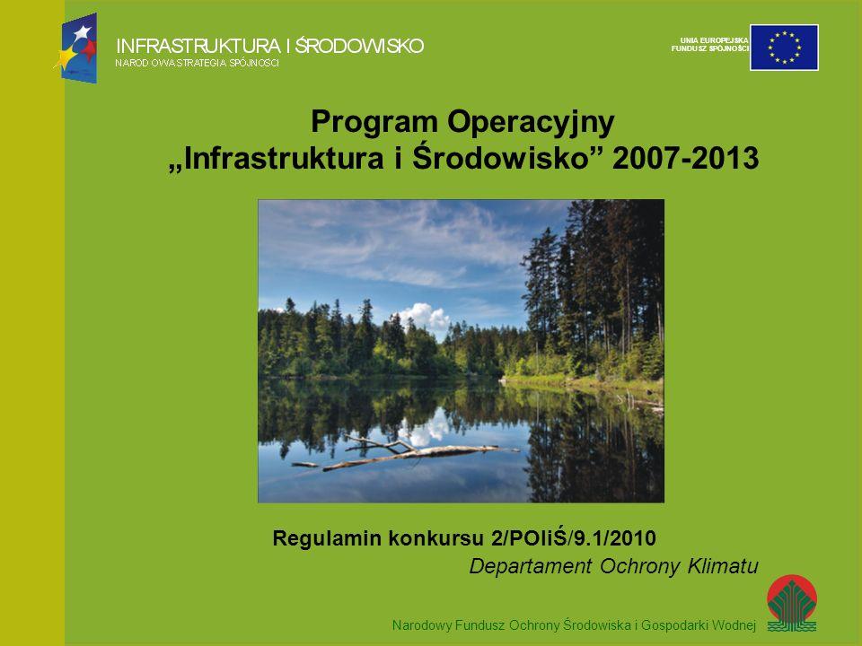 Narodowy Fundusz Ochrony Środowiska i Gospodarki Wodnej UNIA EUROPEJSKA FUNDUSZ SPÓJNOŚCI Program Operacyjny Infrastruktura i Środowisko 2007-2013 Reg