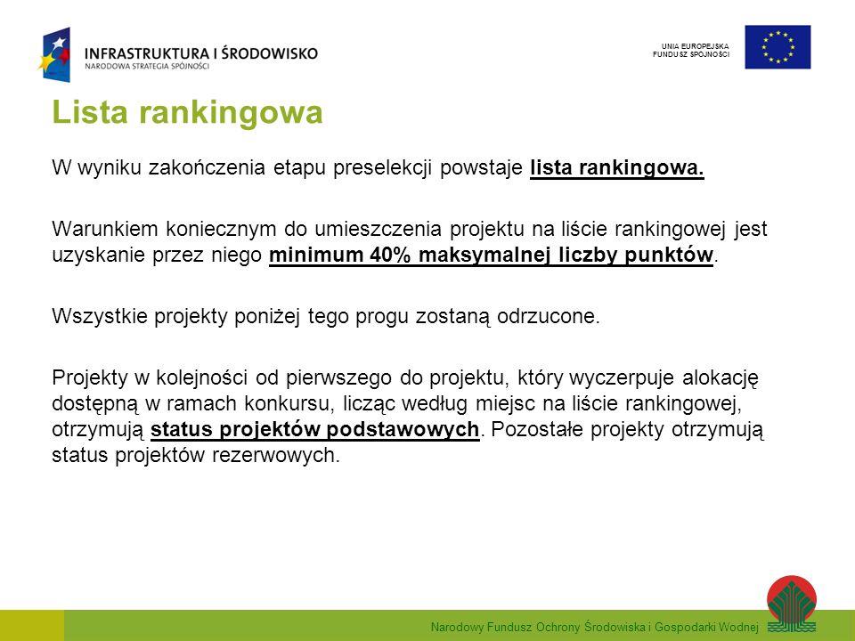 Narodowy Fundusz Ochrony Środowiska i Gospodarki Wodnej UNIA EUROPEJSKA FUNDUSZ SPÓJNOŚCI Lista rankingowa W wyniku zakończenia etapu preselekcji pows