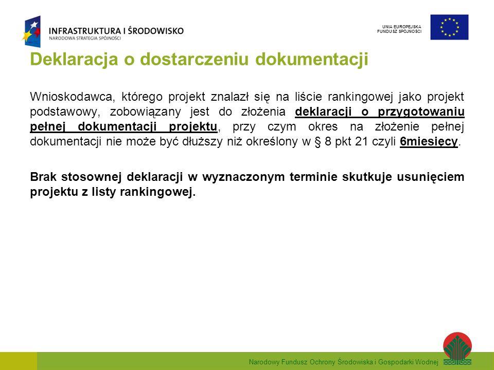 Narodowy Fundusz Ochrony Środowiska i Gospodarki Wodnej UNIA EUROPEJSKA FUNDUSZ SPÓJNOŚCI Deklaracja o dostarczeniu dokumentacji Wnioskodawca, którego