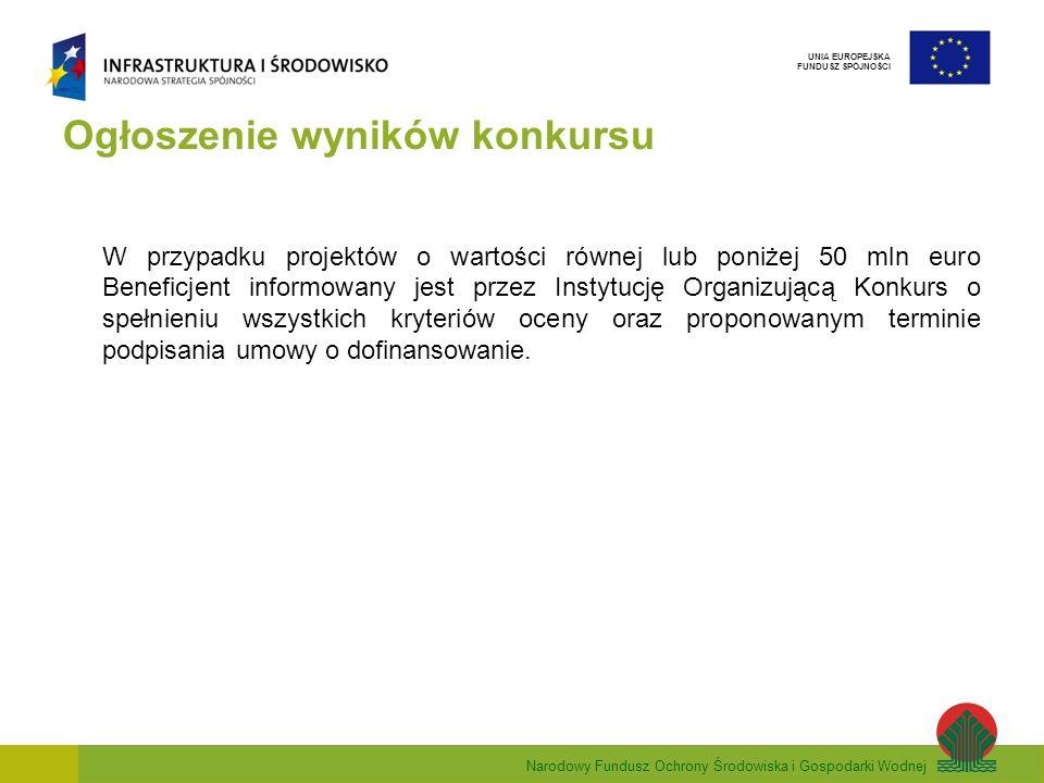 Narodowy Fundusz Ochrony Środowiska i Gospodarki Wodnej UNIA EUROPEJSKA FUNDUSZ SPÓJNOŚCI Ogłoszenie wyników konkursu W przypadku projektów o wartości