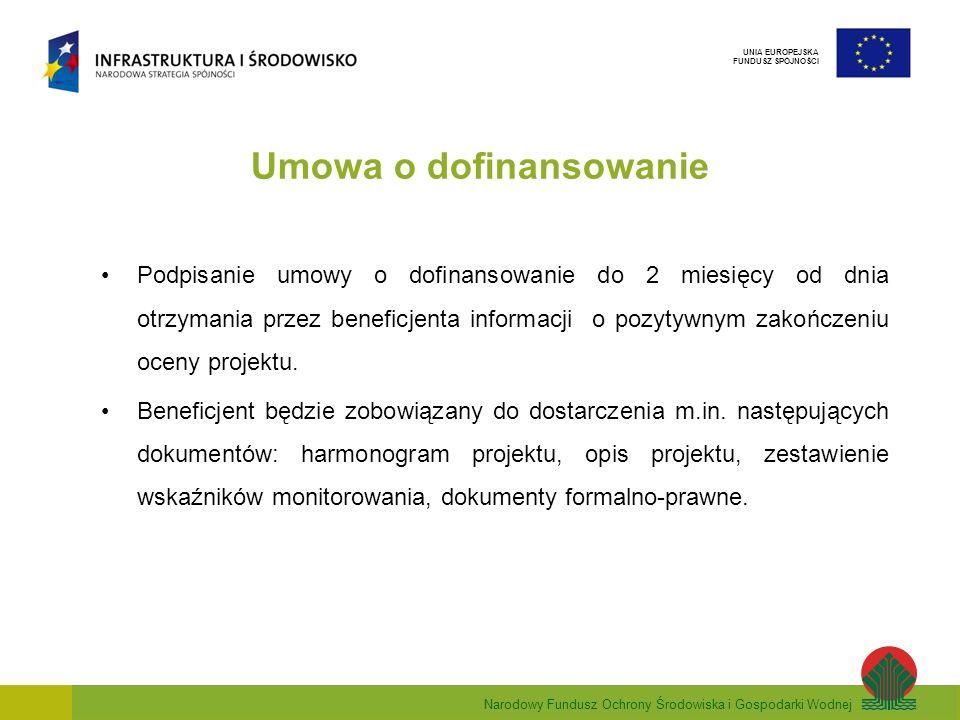 Narodowy Fundusz Ochrony Środowiska i Gospodarki Wodnej UNIA EUROPEJSKA FUNDUSZ SPÓJNOŚCI Umowa o dofinansowanie Podpisanie umowy o dofinansowanie do