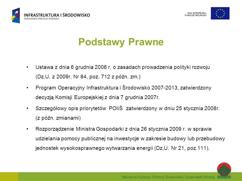 Narodowy Fundusz Ochrony Środowiska i Gospodarki Wodnej UNIA EUROPEJSKA FUNDUSZ SPÓJNOŚCI Podstawy Prawne Ustawa z dnia 6 grudnia 2006 r. o zasadach p