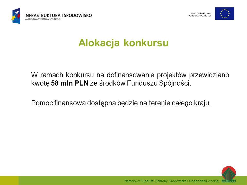 Narodowy Fundusz Ochrony Środowiska i Gospodarki Wodnej UNIA EUROPEJSKA FUNDUSZ SPÓJNOŚCI Alokacja konkursu W ramach konkursu na dofinansowanie projek