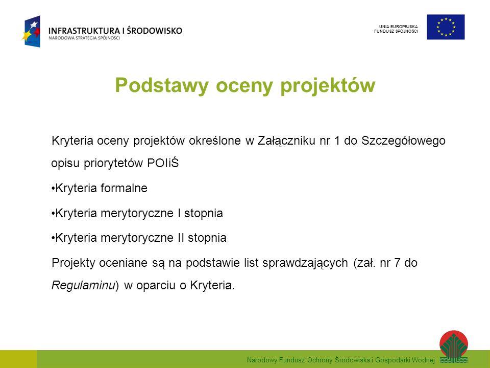 Narodowy Fundusz Ochrony Środowiska i Gospodarki Wodnej UNIA EUROPEJSKA FUNDUSZ SPÓJNOŚCI Podstawy oceny projektów Kryteria oceny projektów określone