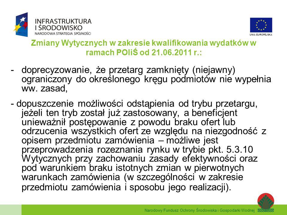 Narodowy Fundusz Ochrony Środowiska i Gospodarki Wodnej UNIA EUROPEJSKA Zmiany Wytycznych w zakresie kwalifikowania wydatków w ramach POIiŚ od 21.06.2