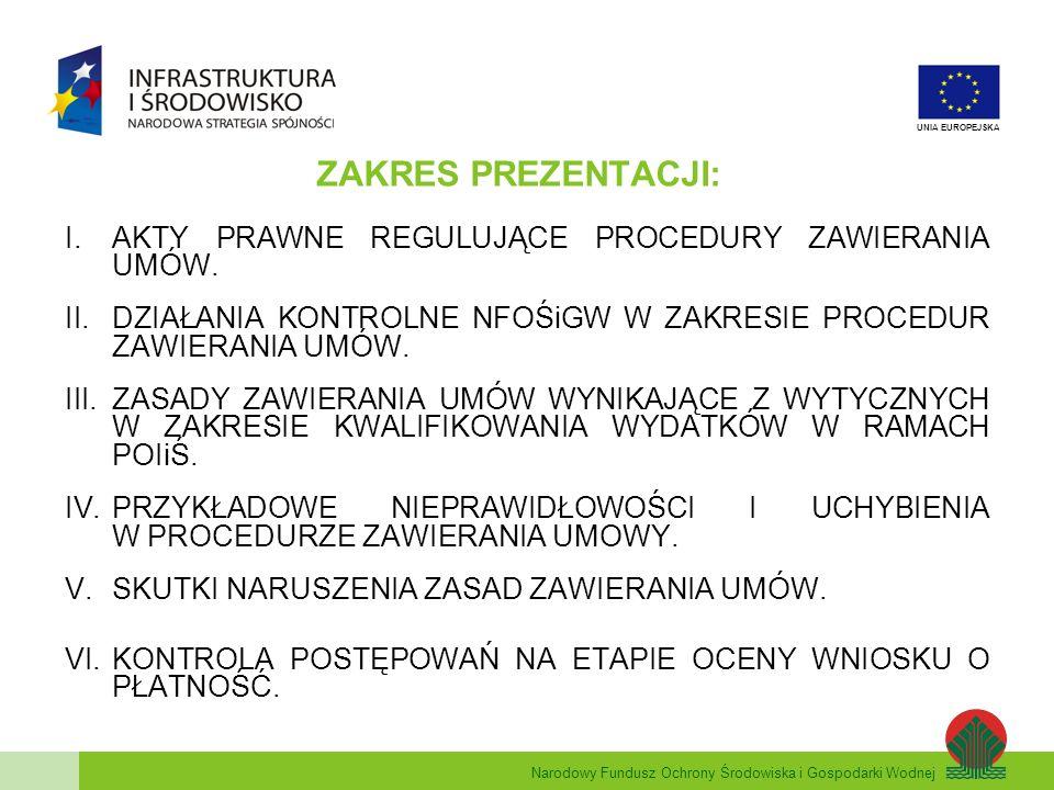 Narodowy Fundusz Ochrony Środowiska i Gospodarki Wodnej UNIA EUROPEJSKA PRZYKŁADOWE NIEPRAWIDŁOWOŚCI I UCHYBIENIA W PROCEDURZE UDZIELANIA ZAMÓWIENIA (Pzp) zastosowanie niewłaściwego trybu postępowania; nieprawidłowe szacowanie wartości zamówienia (podział zamówienia na części); nieprawidłowy opis przedmiotu zamówienia poprzez podanie znaków towarowych i niedopuszczenie rozwiązań równoważnych; nieokreślenie w SIWZ wysokości wymaganych środków finansowych lub zdolności kredytowej (mimo żądania stosownego dokumentu) oraz wprowadzenie takiego warunku w drodze udzielania odpowiedzi na pytania wykonawców; nieadekwatne do przedmiotu zamówienia warunki udziału w postępowaniu (np.