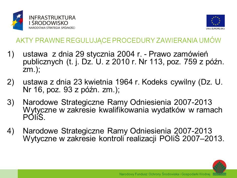 Narodowy Fundusz Ochrony Środowiska i Gospodarki Wodnej UNIA EUROPEJSKA DZIAŁANIA KONTROLNE NFOŚiGW W ZAKRESIE PROCEDUR ZAWIERANIA UMÓW Kontrole przygotowania indywidualnych projektów kluczowych (przed złożeniem wniosku o dofinansowanie); Analiza procedur zawierania umów na etapie oceny wniosku o dofinansowanie; Kontrole projektów zaawansowanych finansowo lub zakończonych przed podpisaniem umowy o dofinansowanie; Kontrole procedur zawierania umów dla zadań objętych projektem, w tym również: Kontrola zmian w umowach; Kontrola umów zawartych w trybie zamówienia z wolnej ręki (zamówienia dodatkowe i uzupełniające); Weryfikacja wewnętrznych procedur zawierania umów/regulaminów Kontrole na miejscu realizacji projektu; Kontrole wniosków beneficjentów o płatność; Kontrole na zakończenie realizacji projektu.