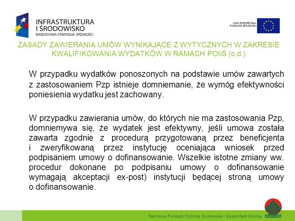Narodowy Fundusz Ochrony Środowiska i Gospodarki Wodnej UNIA EUROPEJSKA FUNDUSZ SPÓJNOŚCI ZASADY ZAWIERANIA UMÓW WYNIKAJĄCE Z WYTYCZNYCH W ZAKRESIE KWALIFIKOWANIA WYDATKÓW W RAMACH POIiŚ (c.d.) W przypadku wydatków ponoszonych na podstawie umów zawartych z zastosowaniem Pzp istnieje domniemanie, że wymóg efektywności poniesienia wydatku jest zachowany.