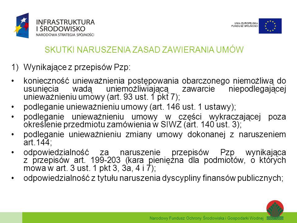 Narodowy Fundusz Ochrony Środowiska i Gospodarki Wodnej UNIA EUROPEJSKA FUNDUSZ SPÓJNOŚCI SKUTKI NARUSZENIA ZASAD ZAWIERANIA UMÓW 1)Wynikające z przepisów Pzp: konieczność unieważnienia postępowania obarczonego niemożliwą do usunięcia wadą uniemożliwiającą zawarcie niepodlegającej unieważnieniu umowy (art.
