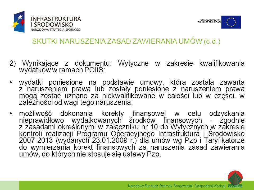 Narodowy Fundusz Ochrony Środowiska i Gospodarki Wodnej UNIA EUROPEJSKA FUNDUSZ SPÓJNOŚCI SKUTKI NARUSZENIA ZASAD ZAWIERANIA UMÓW (c.d.) 2) Wynikające z dokumentu: Wytyczne w zakresie kwalifikowania wydatków w ramach POIiŚ: wydatki poniesione na podstawie umowy, która została zawarta z naruszeniem prawa lub zostały poniesione z naruszeniem prawa mogą zostać uznane za niekwalifikowane w całości lub w części, w zależności od wagi tego naruszenia; możliwość dokonania korekty finansowej w celu odzyskania nieprawidłowo wydatkowanych środków finansowych - zgodnie z zasadami określonymi w załączniku nr 10 do Wytycznych w zakresie kontroli realizacji Programu Operacyjnego Infrastruktura i Środowisko 2007-2013 (wydanych 23.01.2009 r.) dla umów wg Pzp i Taryfikatorze do wymierzania korekt finansowych za naruszenia zasad zawierania umów, do których nie stosuje się ustawy Pzp.