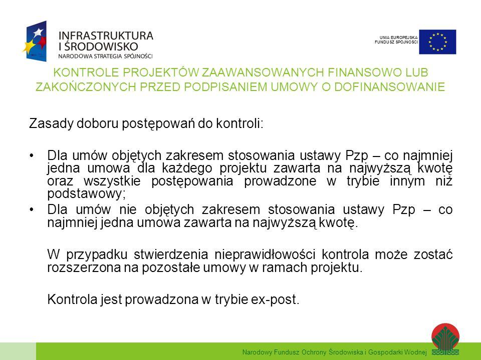 Narodowy Fundusz Ochrony Środowiska i Gospodarki Wodnej UNIA EUROPEJSKA FUNDUSZ SPÓJNOŚCI KONTROLE PROJEKTÓW ZAAWANSOWANYCH FINANSOWO LUB ZAKOŃCZONYCH PRZED PODPISANIEM UMOWY O DOFINANSOWANIE Zasady doboru postępowań do kontroli: Dla umów objętych zakresem stosowania ustawy Pzp – co najmniej jedna umowa dla każdego projektu zawarta na najwyższą kwotę oraz wszystkie postępowania prowadzone w trybie innym niż podstawowy; Dla umów nie objętych zakresem stosowania ustawy Pzp – co najmniej jedna umowa zawarta na najwyższą kwotę.