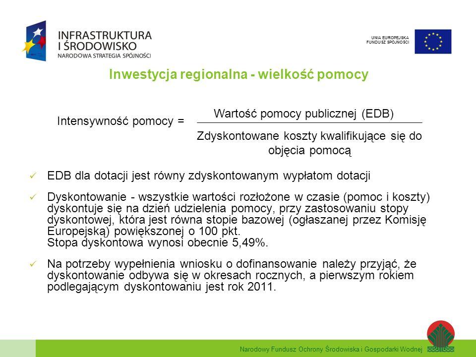 Narodowy Fundusz Ochrony Środowiska i Gospodarki Wodnej UNIA EUROPEJSKA FUNDUSZ SPÓJNOŚCI Inwestycja regionalna - wielkość pomocy EDB dla dotacji jest równy zdyskontowanym wypłatom dotacji Dyskontowanie - wszystkie wartości rozłożone w czasie (pomoc i koszty) dyskontuje się na dzień udzielenia pomocy, przy zastosowaniu stopy dyskontowej, która jest równa stopie bazowej (ogłaszanej przez Komisję Europejską) powiększonej o 100 pkt.