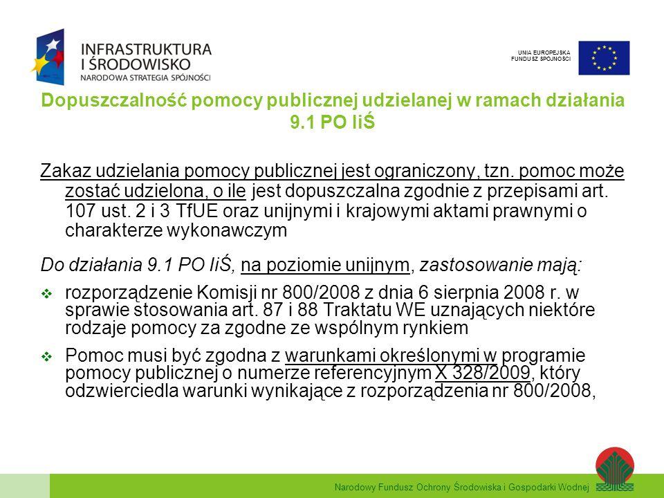 Narodowy Fundusz Ochrony Środowiska i Gospodarki Wodnej UNIA EUROPEJSKA FUNDUSZ SPÓJNOŚCI Inwestycja regionalna - wielkość pomocy Przykład dyskontowania Okres dyskontowy (N) 1 (2010) 2 (2011) 3 (2012) 4 (2013) 5 (2014) Suma Kwota nominalna100 500 Stopa dyskontowa (r)-5,49% Współczynnik dyskontowy *-0,94800,89860,85190,8075 Kwota zdyskontowana10094,8089,8685,1980,75450,60 * współczynnik dyskontowy = 1 (1 + r) N