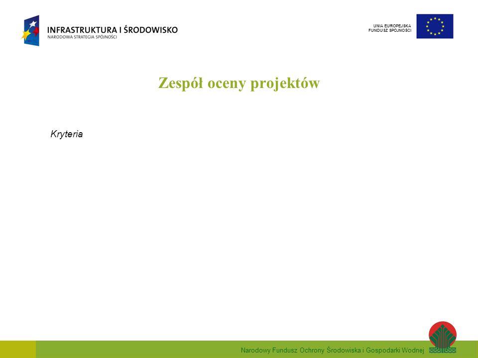 Narodowy Fundusz Ochrony Środowiska i Gospodarki Wodnej UNIA EUROPEJSKA FUNDUSZ SPÓJNOŚCI Zespół oceny projektów Kryteria