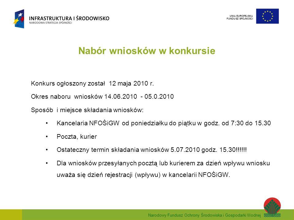Narodowy Fundusz Ochrony Środowiska i Gospodarki Wodnej UNIA EUROPEJSKA FUNDUSZ SPÓJNOŚCI Nabór wniosków w konkursie Konkurs ogłoszony został 12 maja 2010 r.