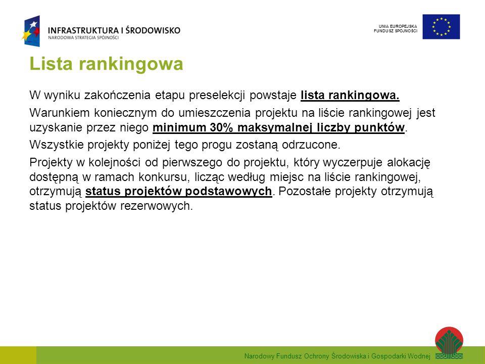 Narodowy Fundusz Ochrony Środowiska i Gospodarki Wodnej UNIA EUROPEJSKA FUNDUSZ SPÓJNOŚCI Lista rankingowa W wyniku zakończenia etapu preselekcji powstaje lista rankingowa.